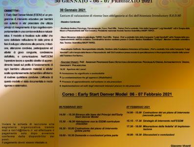 Lecture 30 Gennaio 2021 + Early Start Denver Model 06/07 Febbraio 2021 – GIACOMO VIVANTI (M.I.N.D. INSTITUTE ) CON ANUPI ITALIA