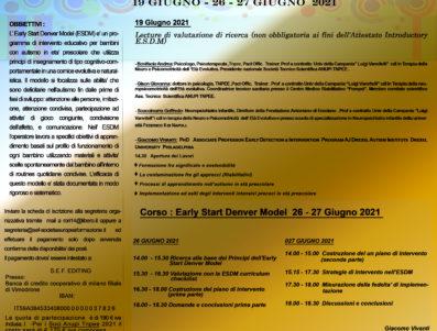 Lecture 19 Giugno 2021 + Early Start Denver Model 26-27 Giugno 2021  (CORSO INTRODUTTIVO ) – GIACOMO VIVANTI (M.I.N.D. INSTITUTE ) CON ANUPI ITALIA